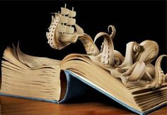This is actually an ad for a bookstore, but I found it at the Kraken Rum website. I haven't tried Kraken rum, but if the Kraken people send me a sample, I'll let you know if it's good. Books Art, Old Books, Music Books, Altered Book Art, Up Book, Art Pictures, Amazing Pictures, Art Images, Bing Images