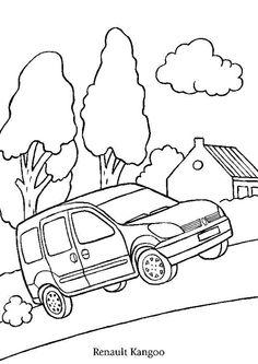 Coloriage d'une voiture Kangoo de la marque Renault allant à la compagne