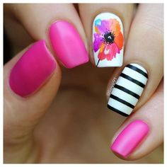 Nail designs Pin for Later: Get Your Nails Beach Ready With These 24 Vacation-Inspired Manicures Ros Cute Nail Art, Cute Nails, Pretty Nails, My Nails, Nails 2017, Nail Designs Spring, Gel Nail Designs, Nails Design, Flower Nail Designs