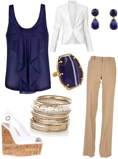 """""""blue, tan, white"""" by chereecarnes on Polyvore"""