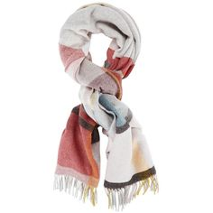 Holzweiler Women's Tableau Wool Scarf (1,080 HKD) ❤ liked on Polyvore featuring accessories, scarves, multi, plaid scarves, tartan shawl, tartan plaid scarves, wool plaid scarves and fringe scarves