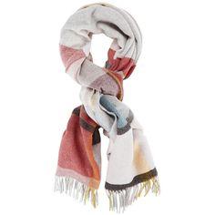 Holzweiler Women's Tableau Wool Scarf (1.655 NOK) ❤ liked on Polyvore featuring accessories, scarves, multi, fringe shawl, wool plaid scarves, tartan plaid scarves, woolen scarves and wool scarves