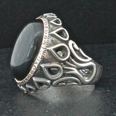 Sterling Silver Ottoman Ring for Men with Onyx by KaraJewelsTurkey