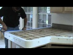 An instructional video on Stegmeier Corporation's Pour in Place Countertops. How to install a concrete kitchen counter top. Step by step instructions in sett. Concrete Kitchen Counters, Concrete Countertops, Concrete Table, Concrete Forms, Poured Concrete, Tadelakt, Diy Home, Home Decor, Decoration Inspiration