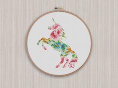 BOGO FREE! Unicorn Cross Stitch Pattern, Unicorn Flowers Silhouette Counted Cross Stitch, Animal Modern Home Decor, Instant Download #025-20 by StitchLine on Etsy
