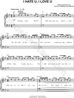 FREE PDF Piano sheet music for I Hate U, I Love U by gnash feat. olivia o'brien…