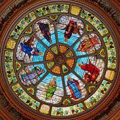 Extraordinary stained glass cupola depicting the four evangelists with their associated prophets. Eglise du Saint Enfant Jésus, Montréal.