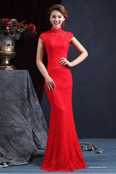 Lovely Chinese Wedding Gown Cheongsam Fishtail Lace Red by yannyexpress