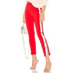 Lovers + Friends On Track Legging (1 640 ZAR) ❤ liked on Polyvore featuring pants, leggings, red stripe pants, red leggings, striped pants, button pants and stripe leggings