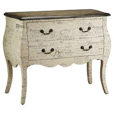 A romantic script motif adorns this bombe-style wood chest. Featuring 2 drawers and a scalloped apron, this curvaceous design is perfect for displaying chic ...