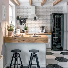 90 beautiful little kitchen design ideas - each of us has different needs ., 90 beautiful little kitchen design ideas - each of us has different needs and material options, but different tastes and homes. Some of us live in sma. Retro Home Decor, Home Decor Kitchen, Diy Kitchen, Home Kitchens, Awesome Kitchen, Dream Kitchens, Kitchen Furniture, Wood Furniture, Kitchen Paint