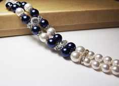 White Swarovski Pearl and Blue Glass pearls Bracelet. Bridal Bridesmaid Night Blue Bracelet, Pearl Wedding Jewelry, Bridal Party Gift