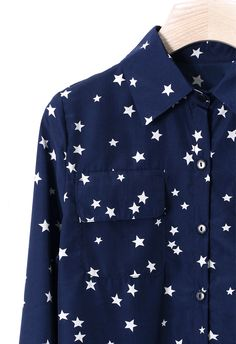 Double Pockets Stars Shirt in Navy Blue - Tops - Retro, Indie and Unique Fashion