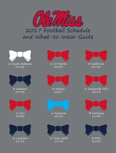 Fall Fashion 2017 Ole Miss Football Schedule and What to Wear Guide Ole Miss Football, Sec Football, College Football, Football Snacks, The Grove Ole Miss, Ole Miss Game, Alabama Vs, Private Student Loan, Ole Miss Rebels