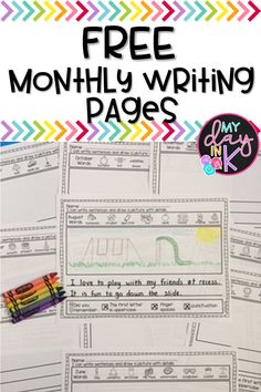 Great free monthly writing pages to print for student practice. Kindergarten Writing Activities, Handwriting Activities, First Grade Activities, Vocabulary Activities, Teaching Writing, Kindergarten Writers Workshop, How To Teach Writing, Kindergarten Checklist, Kindergarten Vocabulary