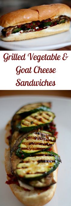 These Grilled Vegetable and Goat Cheese Sandwiches are the packed full of awesome summer flavors!
