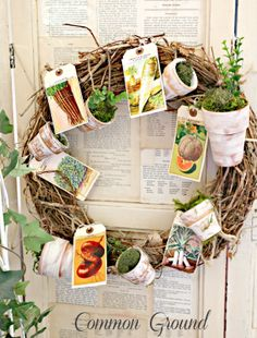 Packet Garden Wreath makes a come back. Common Ground: Seed Packet Garden Wreath makes a come back.Common Ground: Seed Packet Garden Wreath makes a come back. Vintage Seed Packets, Little Gardens, Small Gardens, Garden Crafts, Garden Tools, Garden Ideas, Spring Crafts, Summer Wreath, How To Make Wreaths