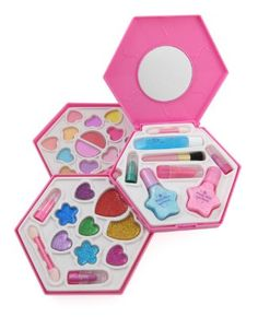 Petite Girls Sun Hexagon Shaped Cosmetics Play Set - Fashion Makeup Kit for Kids:Amazon:Toys  Games