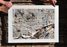 Artist Karen O'Leary of North Carolina has created an amazing series of hand cut paper maps Singapore Map, Shelburne Museum, Karen O, Paris Map, Of Montreal, Paper Cutting, Cut Paper, Gcse Art, Cartography