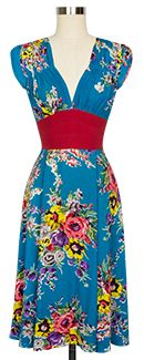 Trashy Diva 1940's Dress turquoise floral