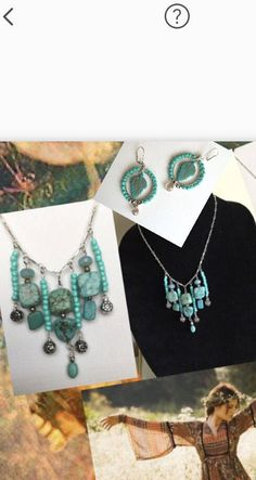 Bohemian Turquoise Fringe Necklace & Hoop Earrings, Turquoise Jewelry Set, Gypsy Turquoise, Handmade Gift, For Her, Turquoise Fashion by Creationlily on Etsy https://www.etsy.com/listing/220077727/bohemian-turquoise-fringe-necklace-hoop