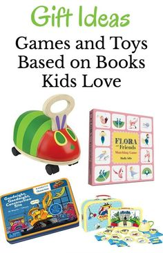 Games and toys to give as gifts for kids.  All ideas are based on books for kids! via @growingbbb