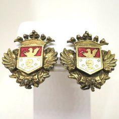 Red Enamel Earrings - Vintage, Coro Signed, Gold Tone, Red and White Enamel Heraldic Shield, Screw Back, Costume Jewelry Earrings by MyDellaWear on Etsy