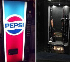 Gun safe but with a coke machine Hidden Gun Storage, Weapon Storage, Secret Storage, Hiding Spots, Hiding Places, Coke Machine, Soda Machines, Vending Machines, Hidden Safe