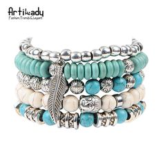 Artilady new buddha beads 5pcs set bracelets boho turquoise bracelet set for statement women jewelry party gift-in Wrap Bracelets from Jewelry & Accessories on Aliexpress.com | Alibaba Group