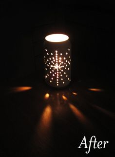 Votive candle out of a recycled pop can.. punch out the top of a pop can, spray it white, punch a design with nails and hammer, and pop in a candle.. can use outdoors or hang on trees.
