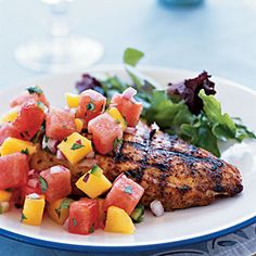 Intern Meal| Marinated Grilled Chicken Breast with Watermelon-Jalapeño Salsa | CookingLight.com