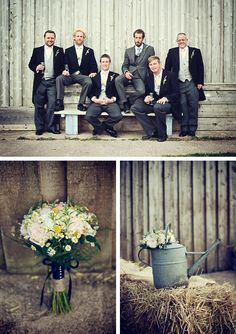 Groom, best man and ushers portrait against barn wall. Brides bouquets with soft pinks and vintage watering van and hay bales - all at The Barn At South Milton #thebarnatsouthmilton