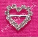 Mini 13mm x 12mm Heart Diamante Buckle with Horizontal Bar. Lovely on Wedding Stationary and gifts!