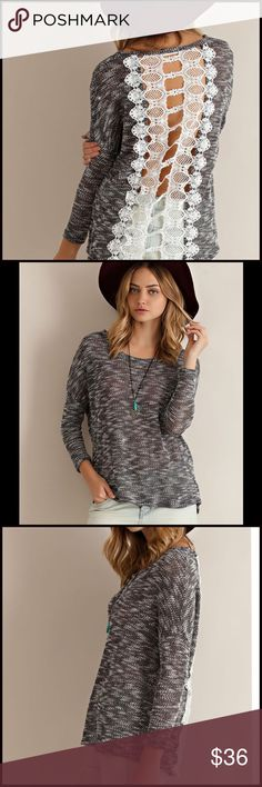 OPEN BACK AIRY TOP Open lace back, this top is a great lightweight airy marled knit. Very soft and comfortable for now or into the fall. It is an eye catching top that looks great on anyone. Don't miss out on this soft beauty  Beautique Tops Tees - Long Sleeve