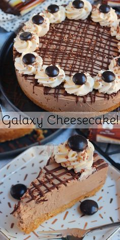 A Creamy, Sweet, and Delicious No-Bake Galaxy Cheesecake with Whipped Cream, Galaxy Chocolate, Galaxy Minstrels and more! Chocolate Cheesecake Recipes, Cheesecake Bars, No Bake Chocolate Cheesecake, Cheesecake With Whipped Cream, Baking Recipes, Dessert Recipes, Baking Tips, Baking Ideas, Cookies