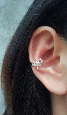 Cute Rhinestone Bow Ear Cuff #ear #cuff www.loveitsomuch.com