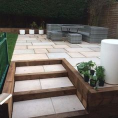 Find high quality Elite Sandstone and a huge range of landscaping materials at great prices. Back Garden Landscaping, Front Garden Landscape, Garden Paving, Sloped Garden, Backyard Patio Designs, Small Gardens, Outdoor Gardens, Back Garden Design, Garden Stairs
