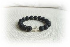 Cross and Lava Rock bracelet for men - Mens Jewelry £19.75