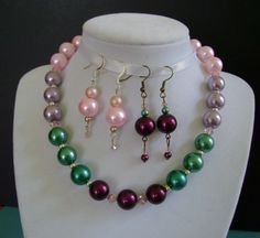 3 PAIR FREE EARRINGS With Glass Pearl Necklace. by MyGrandmasHome