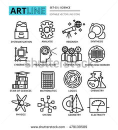 Modern editable line vector illustration, set of science icons, for graphic and…