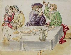 Tischszene. Küssendes Paar. Im Text Warnung vor der Verführung durch die Frau.