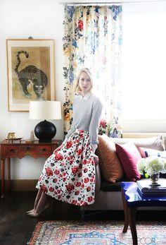 Coffee table, ABC HOME. Pink pillows, Wolf Home. Drapery fabrics, GP
