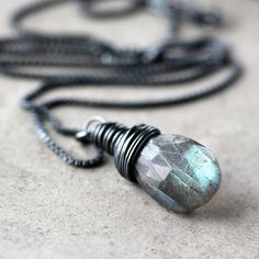 Labradorite Necklace, Storm Gray Blue Flash Faceted Labradorite Oxidized Sterling Silver Necklace - Thunder
