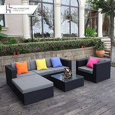 H&L Patio 6PCS Rattan Wicker Sofa Set Outdoor Garden Furniture Cushioned Sofa Set with Ottoman, Black  Intruduction:  Create a beautiful outdoor seating area that you have always dreamed of with this 6PCS Patio Furniture Sofa Set from H&L Direct. The H&L Patio 6PCS Outdoor Sofa...