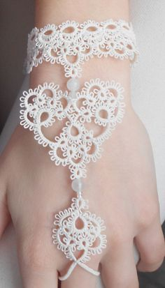 "Heart lace cuff bracelet -  - ivory - ""Sweetheart"" collection. $60.00, via Etsy."