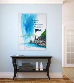 Original Abstract Painting of Hallstatt Austria. by inspiring4U, $250.00 Home Decor Inspiration, Painting Inspiration, How To Make Paint, Austria, Office Decor, Wall Art Decor, Red And Blue, Original Paintings, Canvas Art