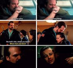 Stranger Things, Jane and Jim Hopper  I love seeing this sice of hopper hes such a good dad to her