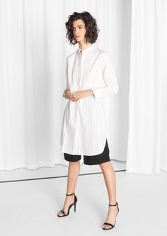 Other Stories image 2 of Striped Jacquard Shirt Dress in White