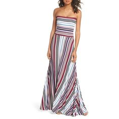 Women's Felicity & Coco Clemette Strapless Maxi Dress (125 CAD) ❤ liked on Polyvore featuring dresses, purple multi stripe, strapless dresses, white maxi dresses, stripe dresses, colorful maxi dress and white dress