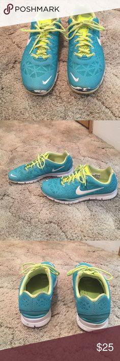 Nike Free Tr Fit 3 Breathe Blue and Neon yellow Nike Frees. Shoes are now barely worn. They do have some scuffs on the front, but that's about it. Nike Shoes Athletic Shoes